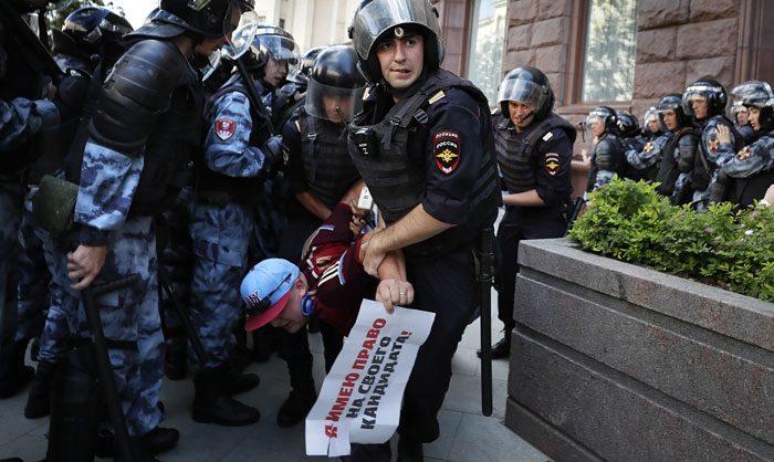 На акции за свободные выборы в Москве начались задержания