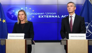 EU foreign policy chief Mogherini and NATO Secretary General Stoltenberg address a joint news conference in Brussels