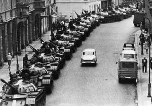 Soviet Tanks Line Side Of Street
