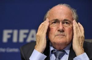 FIFA president Joseph Blatter looks on d