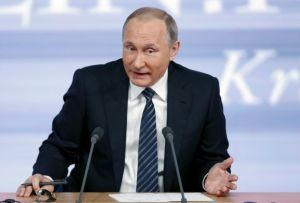 Putin attends his annual end-of-year news conference in Moscow
