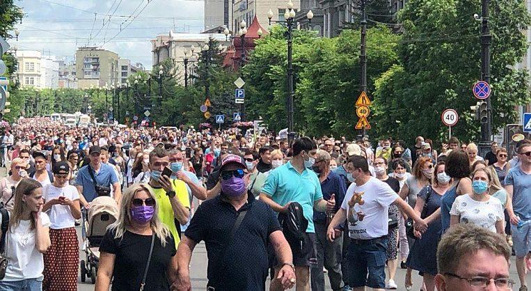 В Хабаровске прошел многотысячный стихийный митинг в поддержку Сергея Фургала